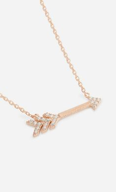 Chloe David Cubic Zirconia & Rose Gold Arrow Pendant Necklace