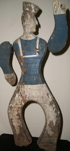 Dull Tool Dim Bulb: Antique Sailor Whirligig Folk Art