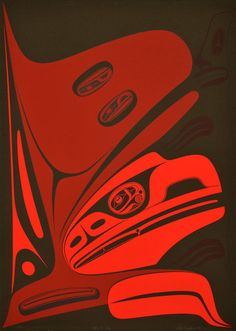 "Before the Snag (1997) [framed] by Robert Davidson, Haida artist (RD1997-02) ""Is it possible to create Haida Art without formlines? I had a dream where a beautiful voice spoke to me saying ""you are only limited by what you set out to do."" ""Before the Snag"" illustrates the loss of Raven's beak in his encounter with the Blind Halibut Fisherman."""