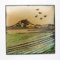 sgraffito enameling | ... , Shropshire' Landscape Panel, 100 x 100mm, Vitreous enamel on copper
