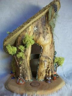 Natural Log Fairy House with Handmade Furniture Burl Wood Moss Trees | eBay