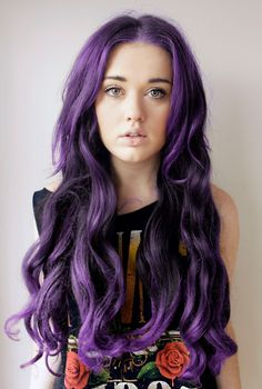 Allover purple sure does make a statement on long hair like hers. MANIC PANIC Purple Haze looks exactly like this.