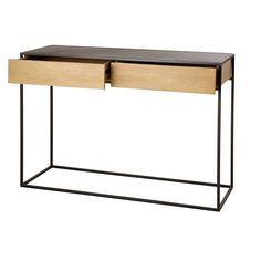 Black Metal and Solid Mango Wood Console Table Wayampi Console Table, Console Metal, Cheap Dorm Decor, Easy Home Decor, Gothic Home Decor, Luxury Home Decor, Black Sideboard, Home Decor Quotes, Room Interior