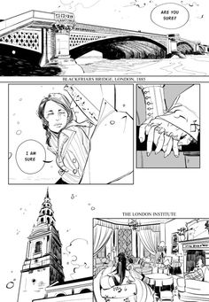 cassandraclare:      Will/Tessa comic from Cassandra Jean and me. Tessa comes back from her yearly meeting with Jem with some news for Will. Or: when James Herondale got his name. With guest appearances by Charlotte and Cecily, Anna Lightwood and Charles Fairchild. PART 1