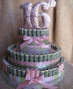 "MONEY CAKE, ""16th Birthday"" - Unique and Fun Way to Give A Sweet Treat You Don't Eat by creativecreationsmc. Explore more products on http://creativecreationsmc.etsy.com"