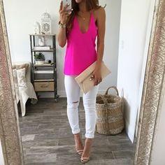 Love white pants and bright shirt