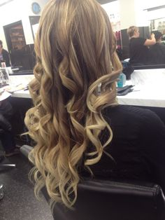Blonde hair ombré and streaks with brown underneath