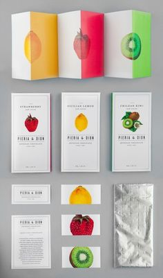 Brochure    I really like the contrast between the vibrant fruits and the white paper. I also like the simplicity of it.