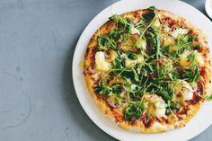 Prawn, chilli and rocket pizza - delicious.