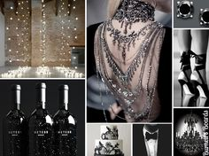 {night sky} a (mostly) black and all glamorous wedding inspiration board http://burnettsboards.com/2012/09/night-sky/