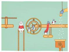 самый клёвый - пингвин, который держит клубки, как он ими для жаккардовых снежинок жонглирует )))