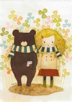 illustration bear and girl