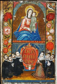 """Donors before Nuestra Señora de la Paz from """"Two sets of laws of Philip III of Spain from 1601-1603"""" by Anonymous from Spain, ca. 1601 (PD-art/old), Biblioteka Czartoryskich"""