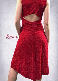 Red or black velvet tango milonga dress with embossed flowers