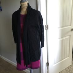 Black 3/4 sleeve croushet sweater Black 3/4 sleeve Croushet Sweater. Size S..  Brand: Flo . New without tags(never worn)comes from a smokefree home ;) Flo Sweaters Cardigans