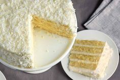 Coconut cake from King Arthur Flour - it's the coconuttiest. Square Cake Pans, Square Cakes, Round Cake Pans, Food Cakes, Cupcake Cakes, Cupcakes, Easy Cake Recipes, Dessert Recipes, Drink Recipes