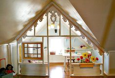 How neat...a cool way to use those awkward spaces in a bonus room or finished attic