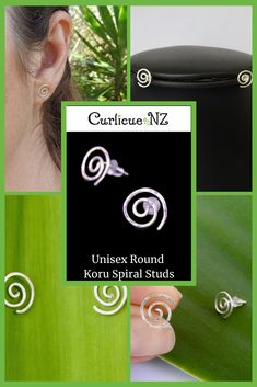 Round Koru Spiral Studs handmade from 100% recycled Sterling Silver, and hammered for texture and durability. Gift Guide, Spiral, Studs, Birthday Gifts, Great Gifts, Community, Stud Earrings, Texture, Sterling Silver