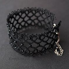 Tatting - Art Lace: Black bracelets - cuffs