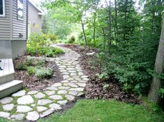 moss stone path would work very well in my backyard. moss stone path would work very well in my back Sloped Backyard Landscaping, Sloped Yard, Landscaping Images, Cobblestone Walkway, Front Yard Decor, Side Yards, Garden Paths, Garden Inspiration, Garden Ideas