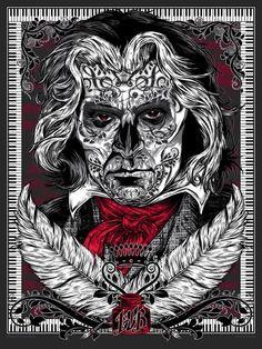 Bad Bonez - art print - 'Ol Ludwig Van' // Studio Seppuku - The Art of Rhys Cooper Omg Posters, Band Posters, Rhys Cooper, Napalm Death, Dark Ink, Poster Prints, Art Prints, Sale Poster, Cool Art