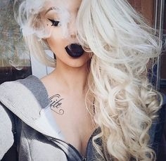 New Hair Goals Black Lipsticks Ideas Lipstick Art, Black Lipstick, Lipsticks, Beauty Makeup, Hair Makeup, Hair Beauty, Hair Fall Control Tips, Colored Curly Hair, Makeup For Blondes