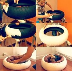 Fantastic Pet Bed ideas Cute idea for dog bed. Not sure I want a tire in my house, but love the concept.Cute idea for dog bed. Not sure I want a tire in my house, but love the concept. Animal Projects, Diy Projects, Tire Craft, Diy Dog Bed, Diy Bed, Homemade Dog Bed, Pet Beds Diy, Old Tires, Recycled Tires