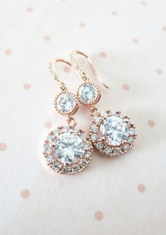 Luxe Rose Gold Cubic Zirconia Halo style Round Teardrop dangle Earrings, Bridal Cubic Zirconia earrings, Classic Hollywood
