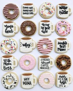 ☕️+ = Sunday . . . . . . . . . #cookies #sugarcookies #decoratedcookies #sunday #coffee #donuts #easylikesundaymorning #cookier…