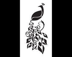 Enchanting Peacock Art Stencil  Select Size  por StudioR12 en Etsy