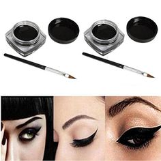 EyeshadowBaomabao 2 PCS Mini Waterproof Eye Liner Gel Cream With Brush Makeup Cosmetic Black *** Want additional info? Click on the image. Note:It is Affiliate Link to Amazon.