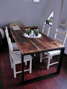 Hand Crafted Reclaimed Wood & Steel Dining by woodmanufacture