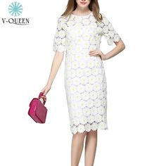 V-QUEEN 2016 New Spring Summer Women Elegant Party Midi Dress Embroidery Daisy Floral Lace Vintage Sheath Pencil Dress B1604049