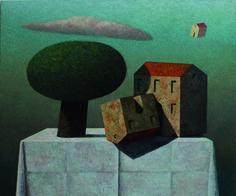 Matthias Brandes, 2 Case e albero, 2013, olio e tempera su tela, 100 x 120 cm  #contemporary #art #painting