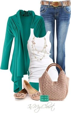 Casual Outfit for fall. Turquoise cardigan with white tank top and denim. Cute and casual.