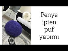 Penye ipten puf Yapımı - YouTube Crochet Pouf, Mini, Puff, Youtube, Trapillo, Needlepoint, Benches, Youtube Movies