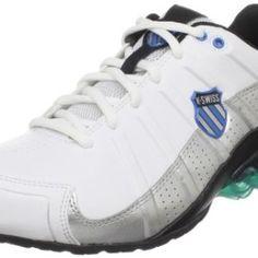 K-Swiss Men's Clear Tubes 50 Running Shoe,White/Black/Brilliant Blue,13 M US