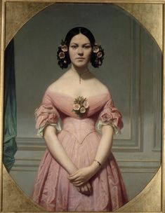 Eugène Emmanuel Amaury-Duval: Portrait of Isaure Chassériau, Niece of the Artist, Daughter of Théodore Chassériau Victorian Women, Victorian Fashion, Vintage Fashion, Classic Paintings, Old Paintings, Historical Costume, Historical Clothing, Rose Bertin, Renaissance