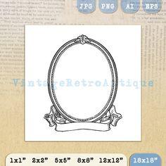 Printable Image Elegant Oval Frame and by VintageRetroAntique