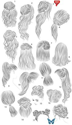 Cool Art Drawings, Pencil Art Drawings, Art Drawings Sketches, Drawing Faces, Hair Styles Drawing, Easy Hair Drawings, Girl Hair Drawing, Drawing Girls, Drawing Clothes