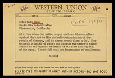 Friday, December 29th, 1967: Dr. Martin Luther King, Jr. sends this reassuring telegram to Joan Baez in prison