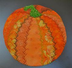 Pumpkin Crazy Quilt Mug Rug