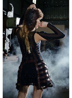 Surjupe steampunk noire et marron RQ-BL