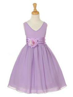 Lilac Lovely Soft Georgette Flower Girl Dress