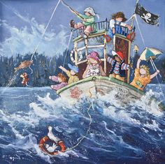 A good catch  www.paulinepaquin.com Nursery Paintings, Image C, Childhood Memories, Original Paintings, Arts, Painters, Jigsaw Puzzles, Poster, Illustrations