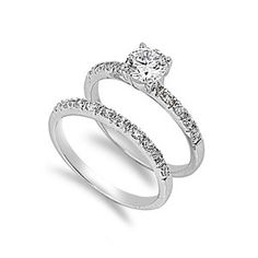 Mariabella's .75CT Solitaire Brilliant Cut Pave Band CZ Wedding Ring Set