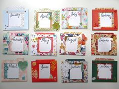 Special project with Kristen - 4x4 cards one for each month made as calendar - every card is stored in its own fitting pocket (can be used together or separately)