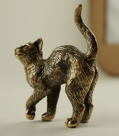 Solid Bronze Cat miniature by N.Fedosov