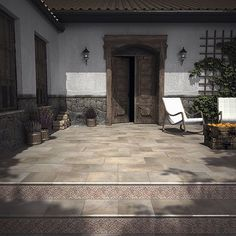 Extruded porcelain floor tiles and decorative pieces: Tabica EST. FOSSANO ( Fusión in the back of the steps. Ceramic Floor Tiles, Tile Floor, Porcelain Floor, Rattan Lamp, Rustic Ceramics, Tile Manufacturers, Fabric Dining Chairs, Cool House Designs, Outdoor Walls