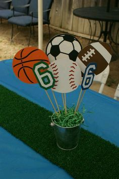 Sports Party Centerpiece Sports Theme Baby by PreciousPaperMakings Ball Theme Birthday, Ball Theme Party, Sports Themed Birthday Party, Sports Party, 6th Birthday Parties, Baseball Birthday, Soccer Party, 9th Birthday, Sports Theme Baby Shower